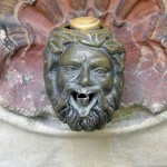 Drinking fountain in the shape of a satyr's head