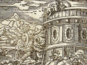 Daedalos throws Perdix from the tower, Athena watching transforms her into a partridge.