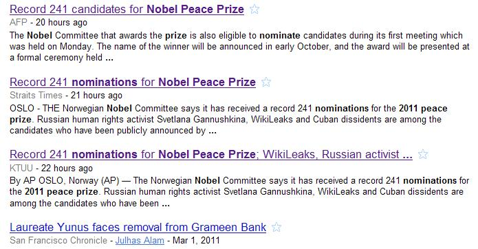 Screenshot of Google news search for Nobel Prize with date limit