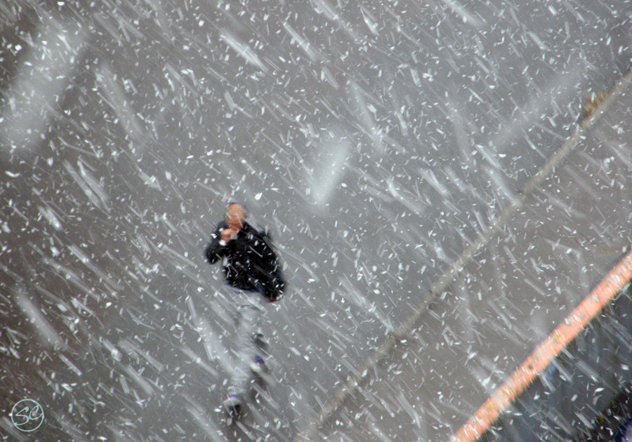 Walking in the falling snow