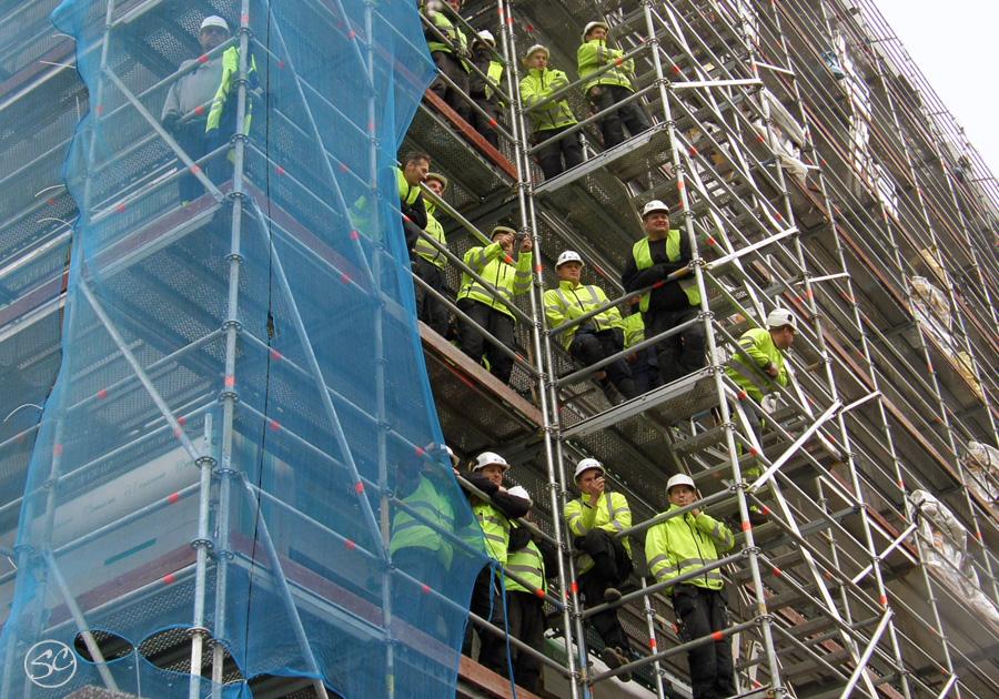 Hammarkullen Carnival audience on scaffolding