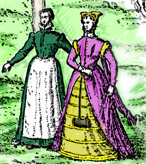 Lady and maid from Hoffnagel's map 1572