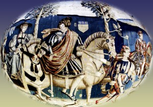 Out riding 15th century tapestry