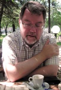 John Niixon, TheSupercargo, talking over a cup of coffee. Sofia, Bulgaria in 2010