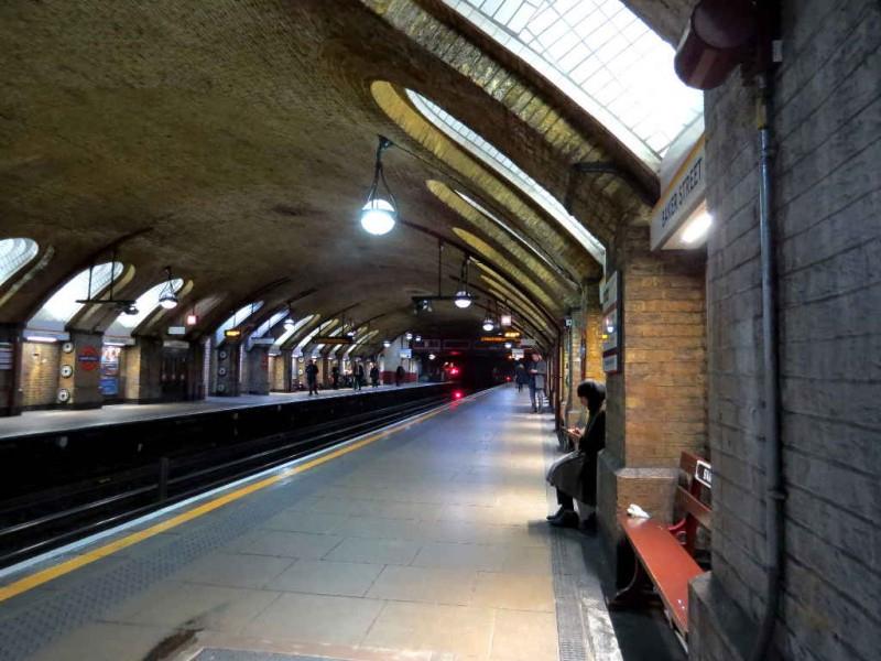 Reading on Baker Street station
