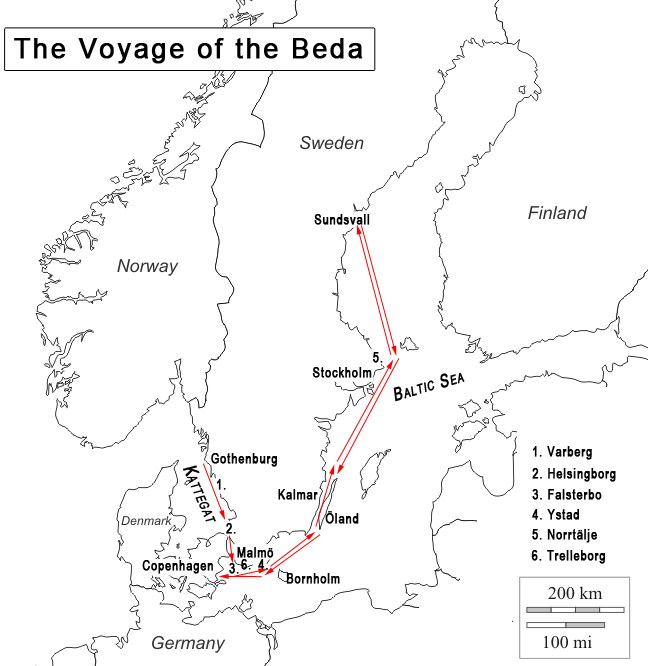 Voyage of the Beda map
