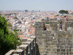 Battlements of Castelo de Sao Jorge and view over Lisbon