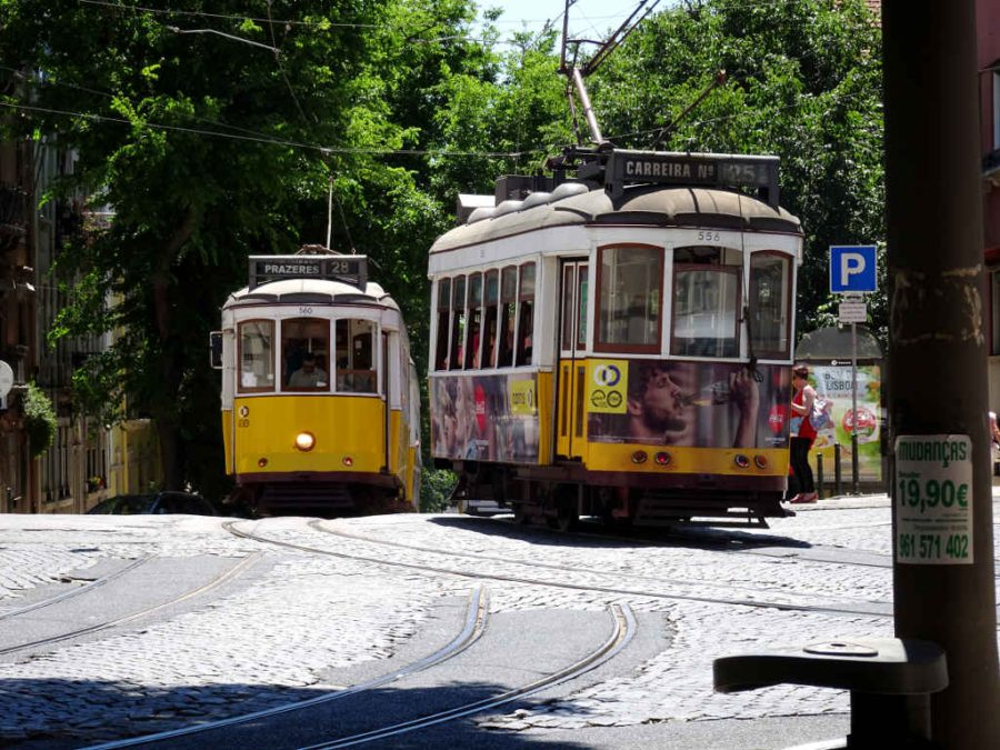 Wednesday - Bairro Alto, Lisbon - trams 28 and 25 passing