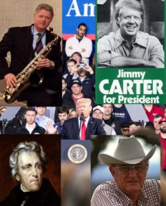 White Trash 2 - Bill Clinton with saxophone, Jimmy Carter with rolled up sleeves, Lyndon Johnson with ten-gallon hat, Andrew Jackson, Donald Trump