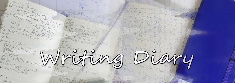 Productivity: Blue book writing diary header
