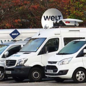 Photo catch-up: Outside broadcast vans in the hotel carpark