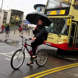Brighton - Bicycling in the rain