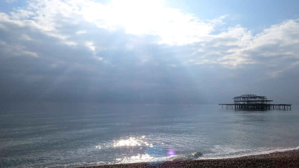 The West Pier with lense flare
