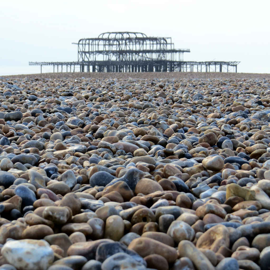 West Pier across shingle