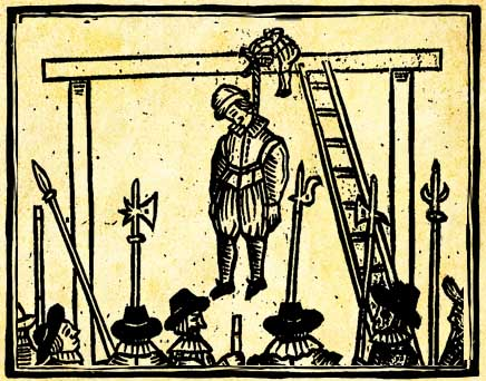 The Pickpockets' Ballad - woodcut of a hanging