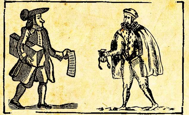 The Pickpockets' Ballad - a ballad seller and a cutpurse woodcuts