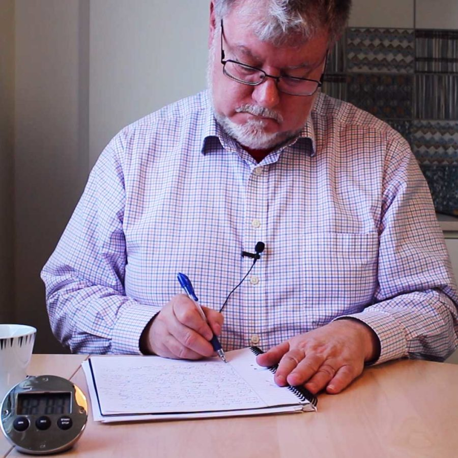 Writing sprints: John writing, still from video