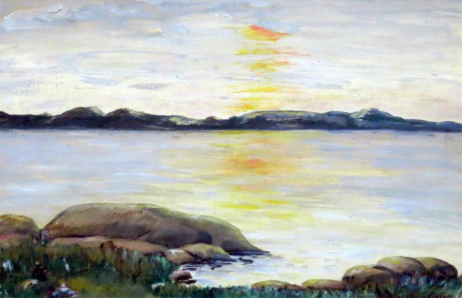 Villanelle: A painting of the sunset over the islands of Gothenburg's western archipelago made by Ulla Gustafsson