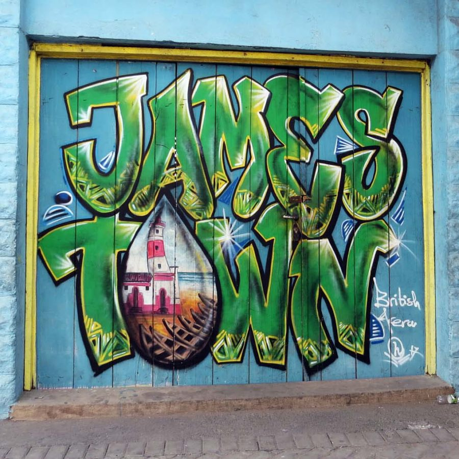 Jamestown graffiti - with lighthouse