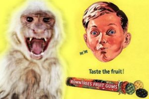 Monkey trauma: Angry monkey with another Rowntree's ad
