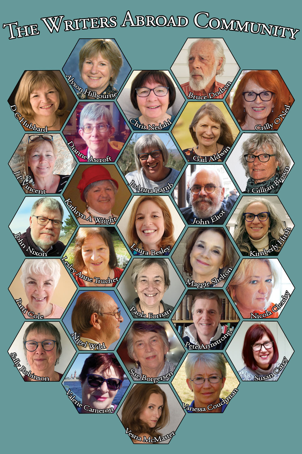 Far Flung: A collage of portraits - contributors to the anthology