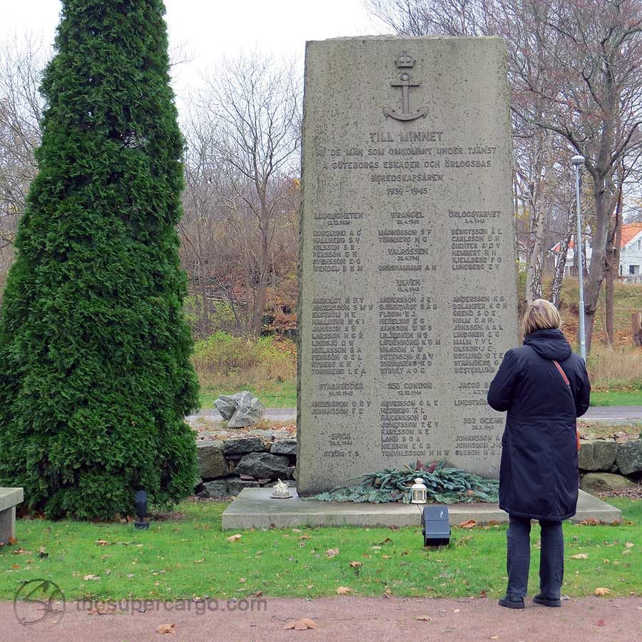 In the graveyard at Nya Varvet, this stone commemorates the lives lost when neutral Swedish ships were sunk during WW2