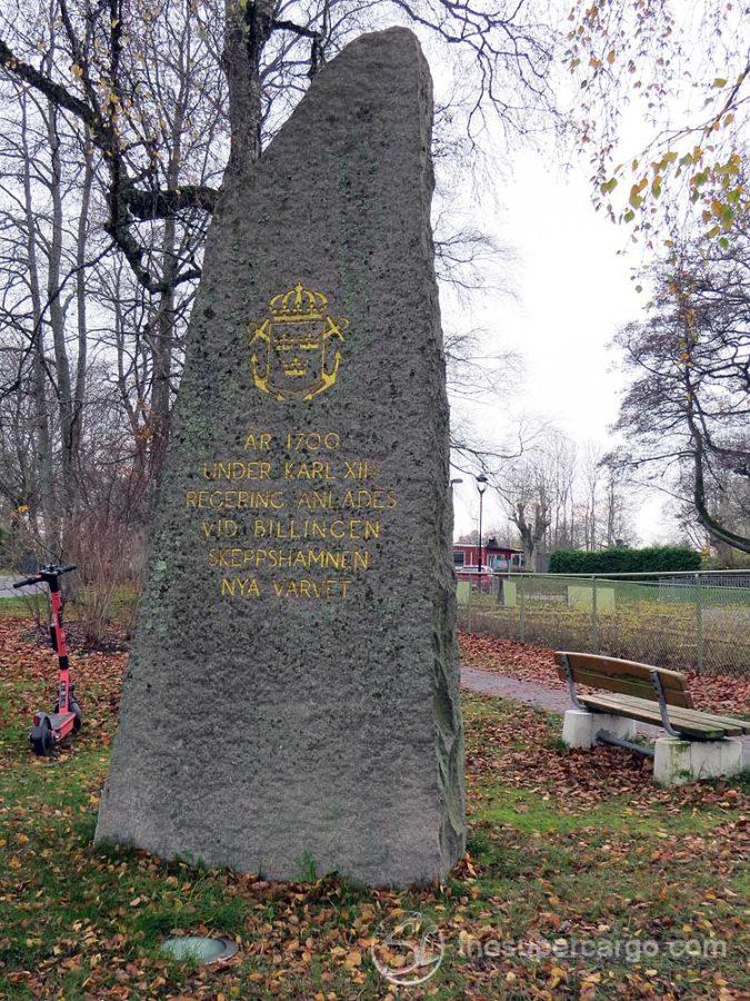 Muted autumn: Memorial at Nya Varvet commemorating the establishment of the naval base in 1700