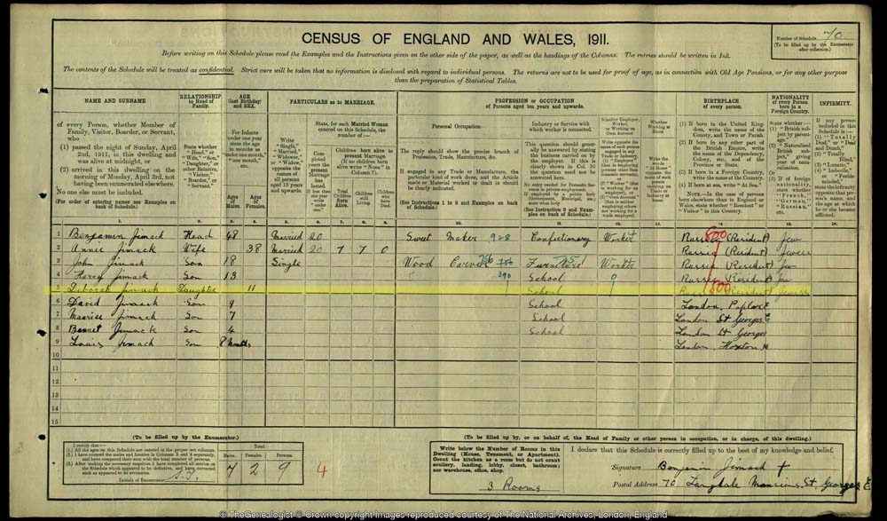 1911's census document for the Jimack family. Debbie Jimack highlighted.