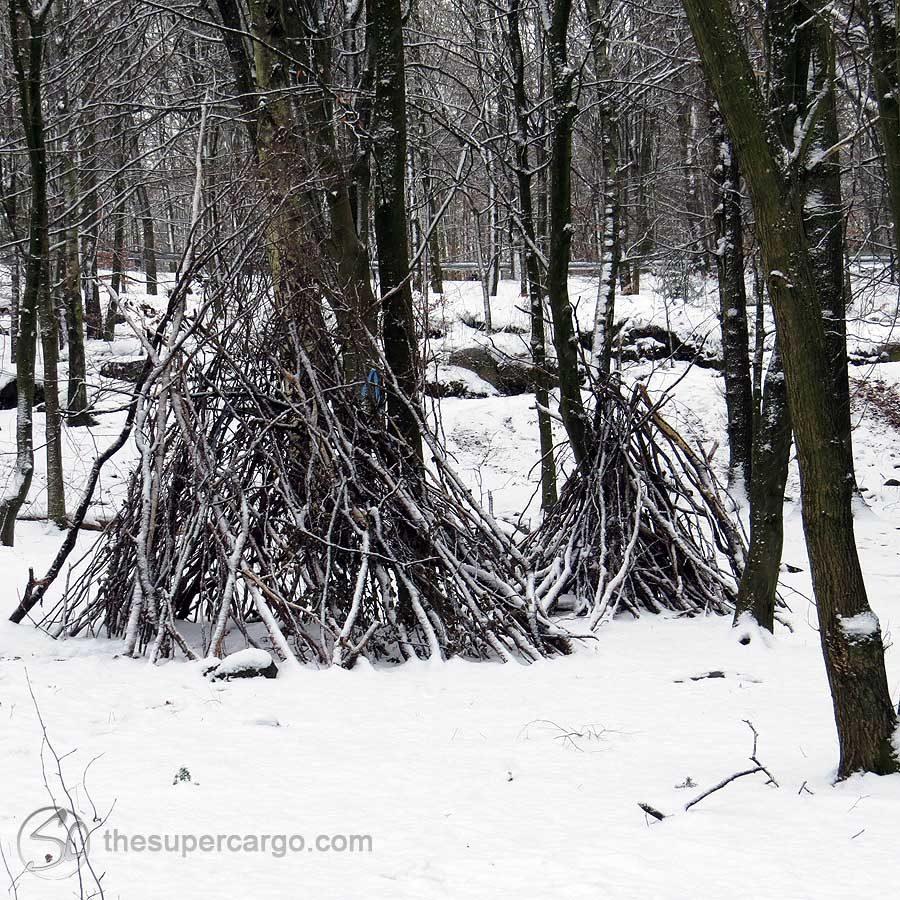 Kids play-tepes made visible by the snowfall