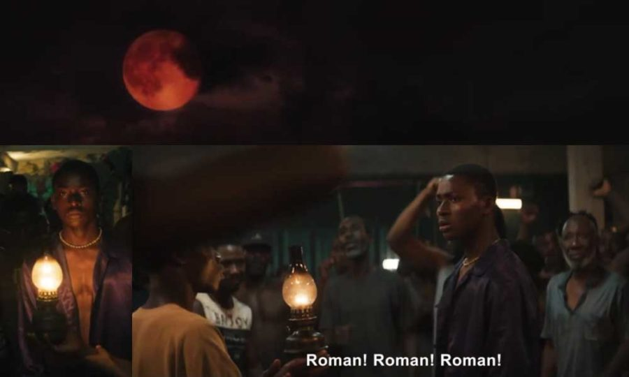 Night of the Kings collage 2: Under the red moon, the prisoners celebrate Roman, their storyteller
