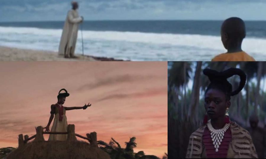 Night of the Kings collage of stills from trailer 3: King Zama as a child with his grioter grandfather on the beach, the witch-queen summoning her powers, the witch-queen portrait