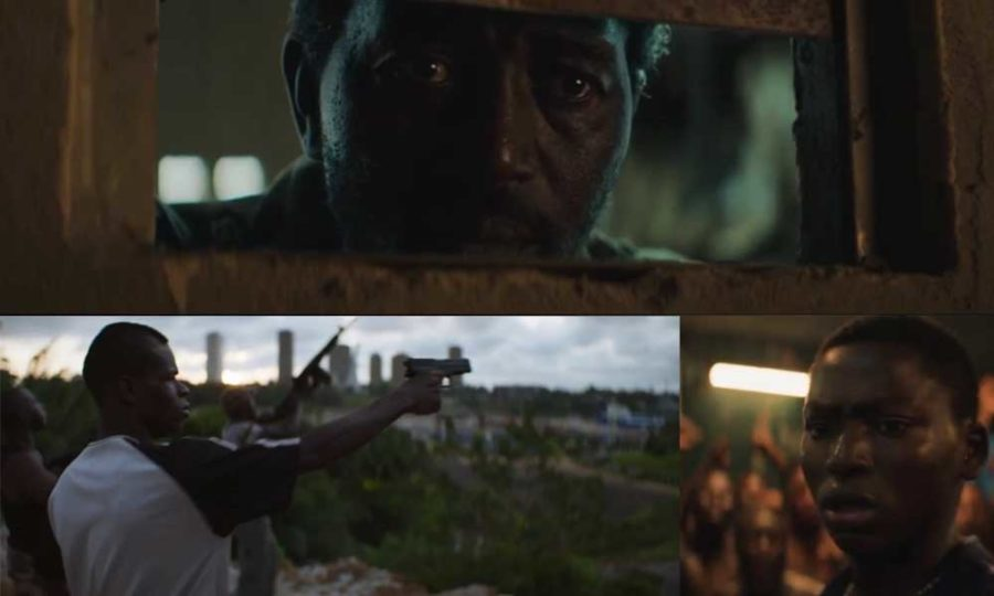 Night of the Kings collage of stills from trailer 4: The prison commander watches the prisoners, the Microbes fire off their guns over Abidjan, Roman in prison