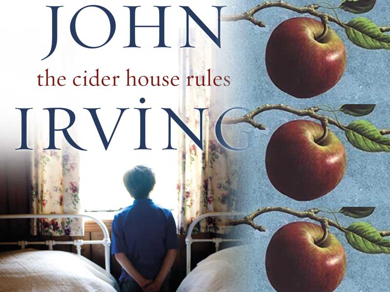 In Flight: The cover of my edition of The Cider House Rules with the cover image apple of an earlier edition.