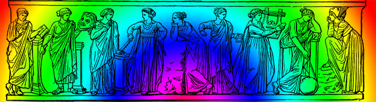 The nine muses, Clio to the extreme left