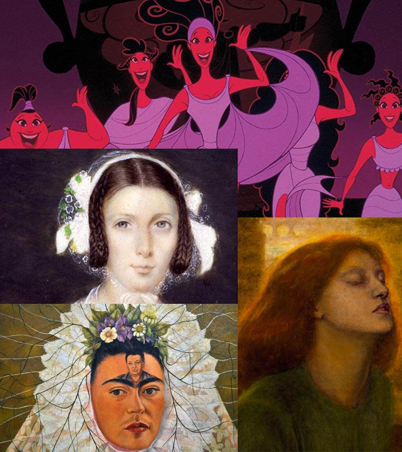 """Eight or ten muses. Clockwise from the top: the five Disney muses from Hercules; Lizzie Siddal as Dante's Beatrice painted by Dante Gabriel Rossetti; Frida Kahlo's painting """"Diego on My Mind""""; Fanny Brawne, a watercolour painted some 12 years after Keats's death."""